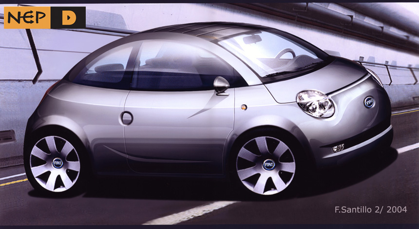 Front 3Q rendering for Fiat 500.