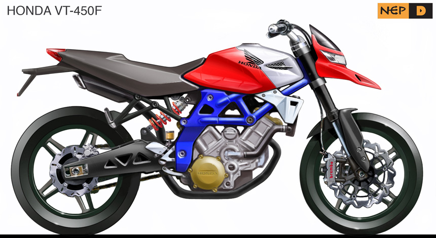 Side rendering Honda VT-450F.