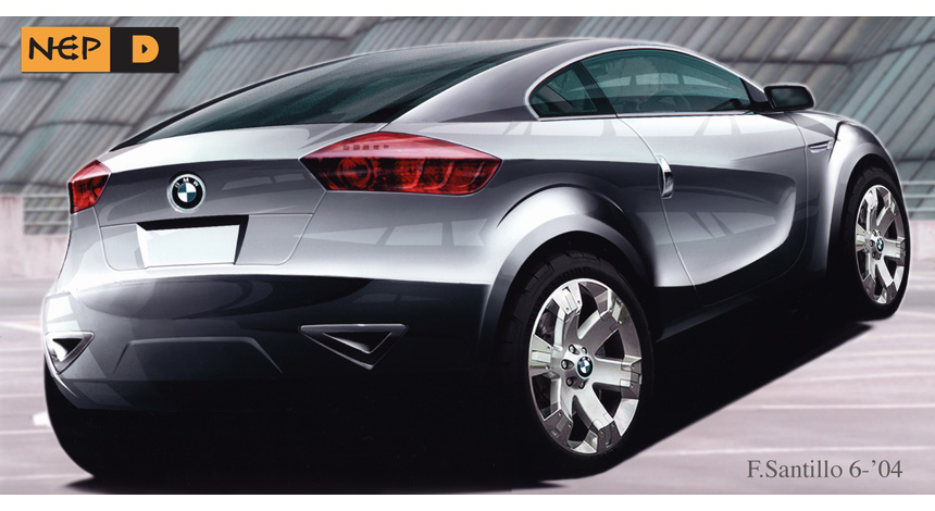 Rear 3Q view rendering BMW X1 coupe.